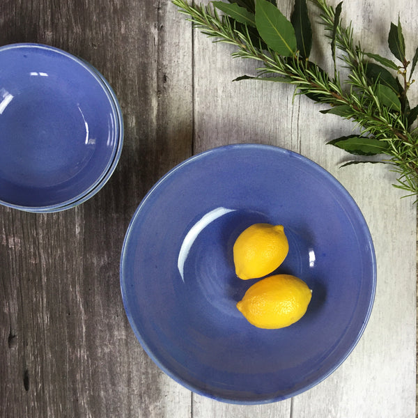 Large Hand Thrown Delta Bowl, Azure Blue and Charcoal