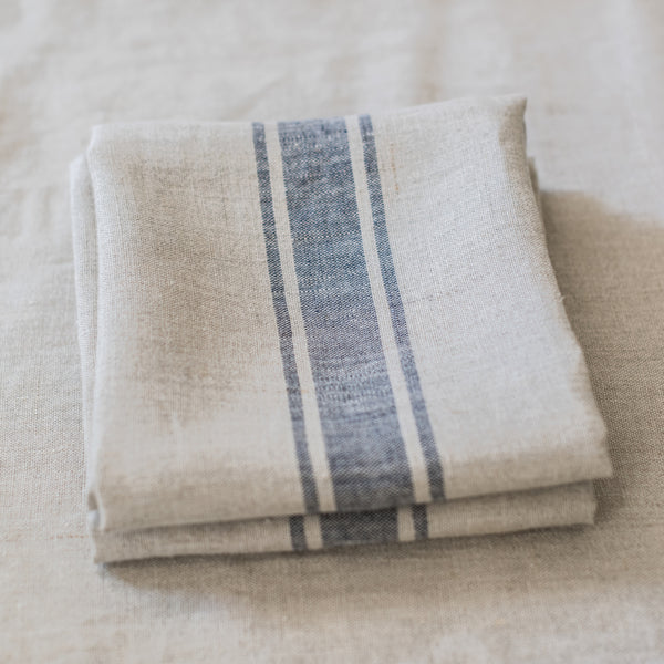 Provencal Tea Towel, Navy Stripe