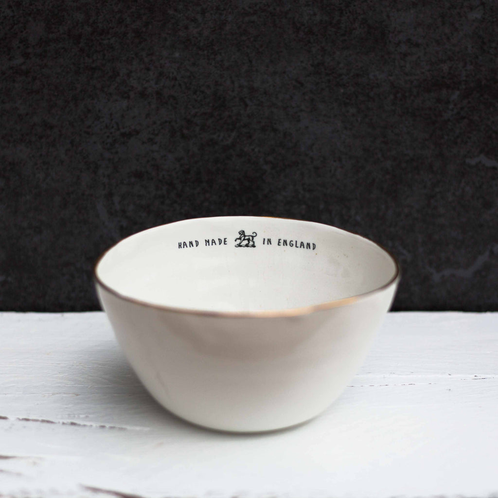'Hand Made In England' Bowl, Gold Rim
