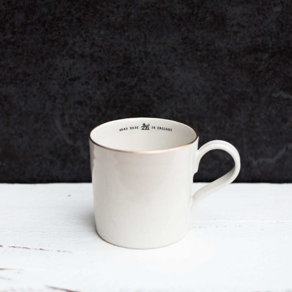 'Hand Made In England' Mug, Gold Rim