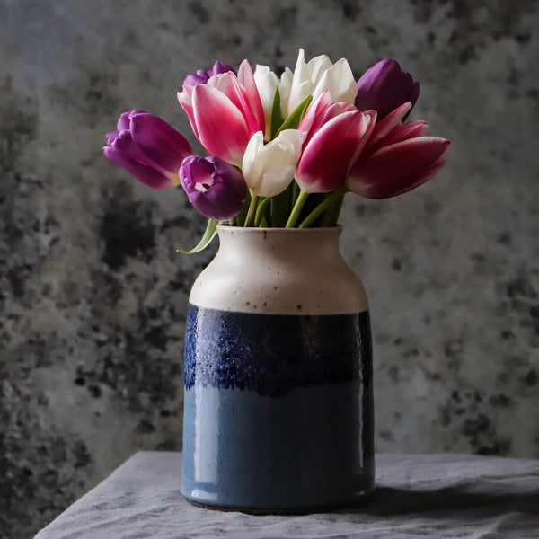 Wheel Thrown Horizon Vase - Misty Blue and Oatmeal