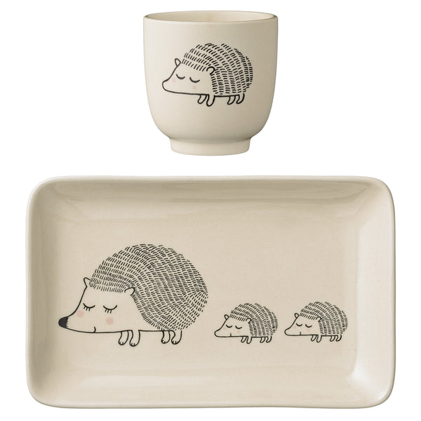 Hedgehog Cup and Plate Set, Cream