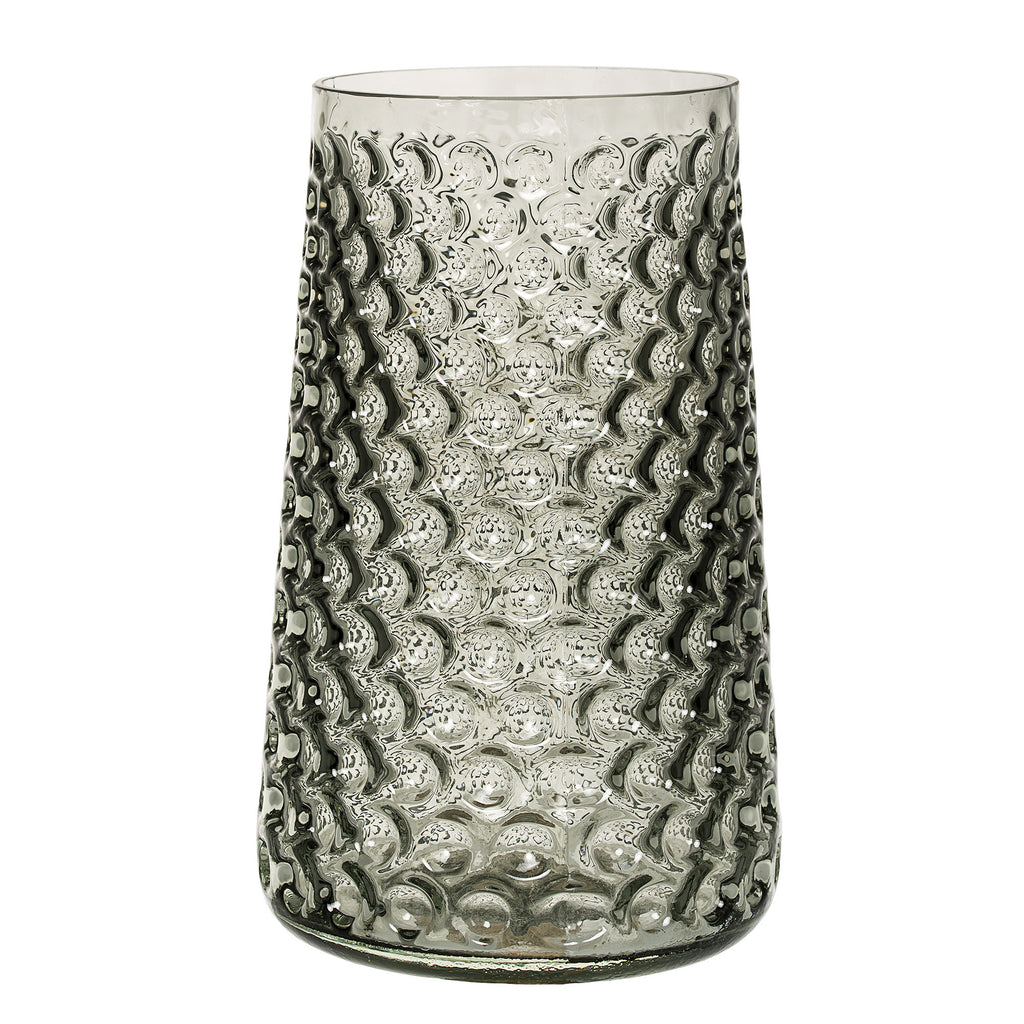 Textured Grey Glass Vase