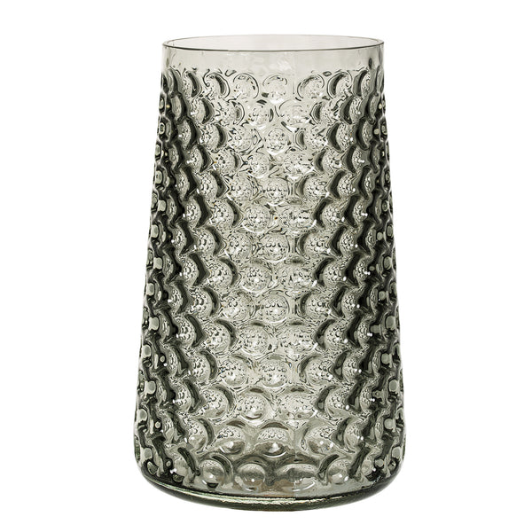 Large Textured Glass Vase, Grey