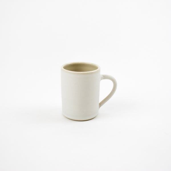 Sue Ure espresso cup individually hand thrown with a chalky white glaze.