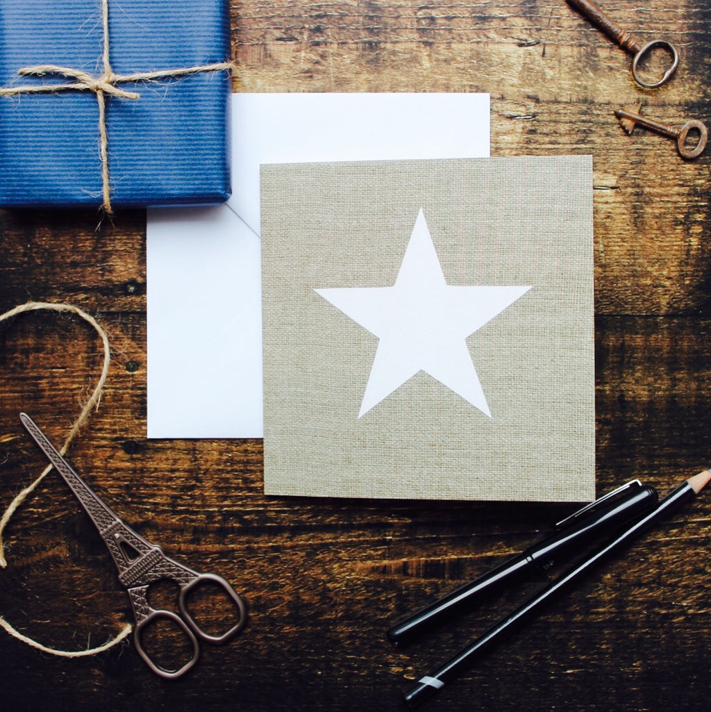 Star On Linen Card, Blank