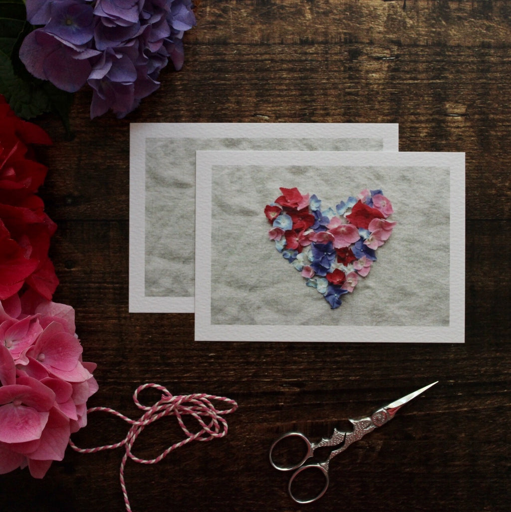 Hydrangea Heart Notecards, Pack of 5
