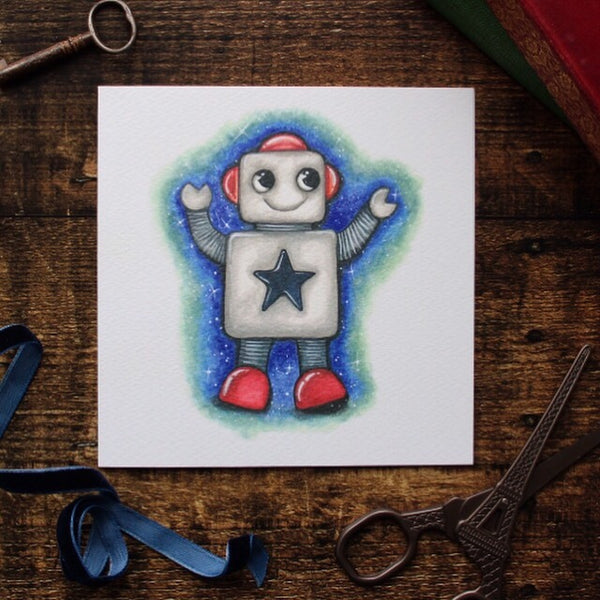 Cute Robot Card, Blank