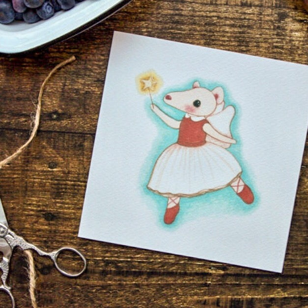 Fairy Mouse Card, Blank