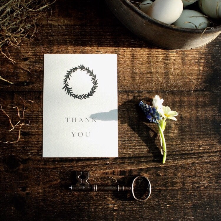 Wreath Thank You Cards, Pack of 5