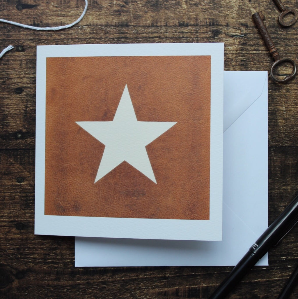 Star On Leather Card, Blank