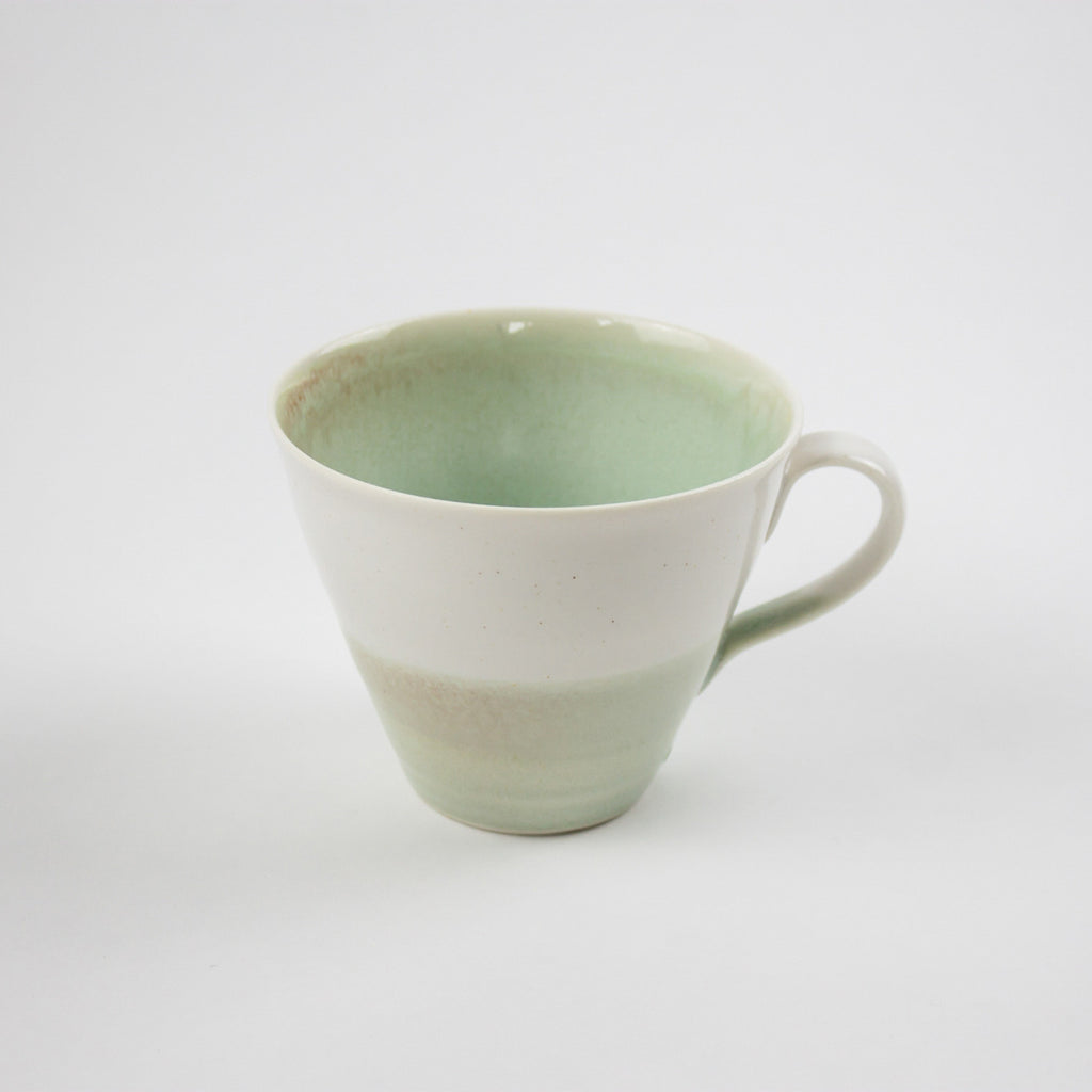 Hand Thrown Porcelain Tea Mug, Aqua/White