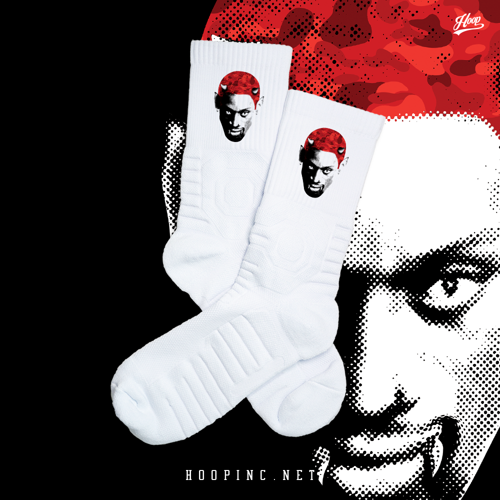 """Demonise Worm Red Camo"" socks"