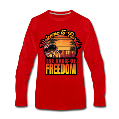 MEN'S LONG-SLEEVE OASIS OF FREEDOM SHOP! - red