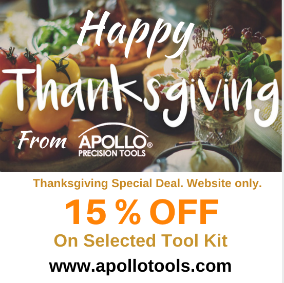 Thanksgiving discount.  15% OFF on selected tool kits now through November 30th