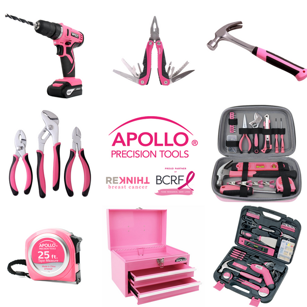Apollo pink toolsets, pink tool kits, pink tools, pink drill donation to breast cancer