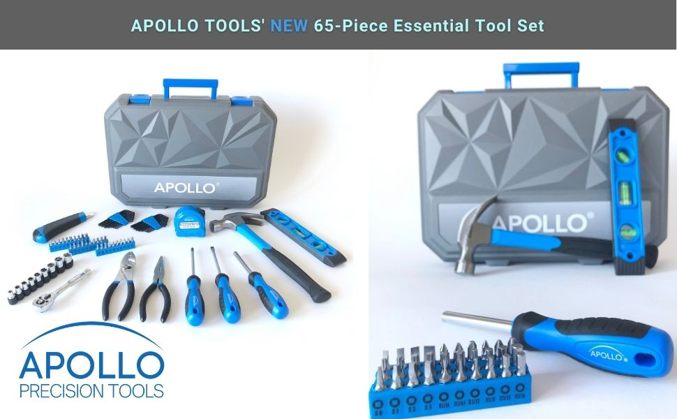 65 piece blue tool set with case Apollo Tools