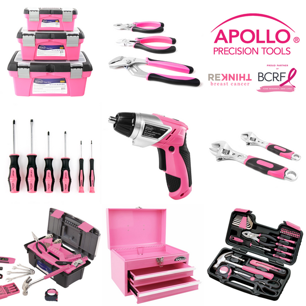 Apollo tools pink tool sets, pink toolkits, pink tools, pink drill donation to breast cancer