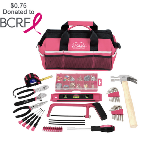 complete tool set pink for women in tool bag with breast cancer donation