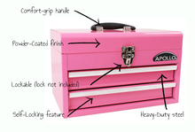 pink metal tool box tool chest with drawers details