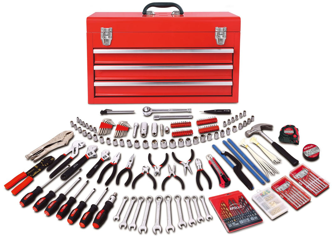 300 Piece All Purpose Mechanics Tool Kit in Three Drawer Steel Tool Box -- RED CASE -- DT6806