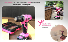 light drill, cordless drill pink, rechargeable drill, drill with drill bits, breast cancer pink tool