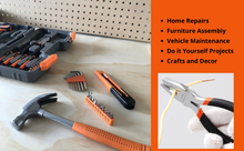 all in one orange tool set, orange tool kit for home repairs, maintenance tool set, do it yourself tool kit