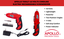 4.8 Volts Cordless Electric Rechargeable Screwdriver with Two Positions and Bit Set