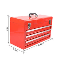Apollo Tools tool case Three Drawer Steel Tool Box -- RED CASE -- DT6806