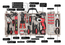 complete tool set with cordless screwdriver