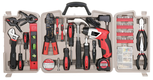 complete tool kit with cordless screwdriver