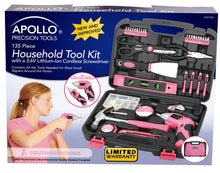 135 Piece Household Tool Kit Pink with Pivoting Dual-Angle 3.6 Volt Lithium-Ion Cordless Screwdriver - DT0773N1