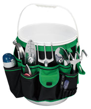green bucket organizer shown with white bucket, tools and water flask