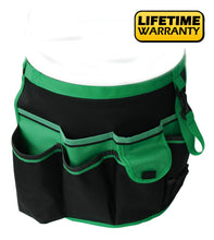 green and black bucket organizer with lifetime warranty sticker
