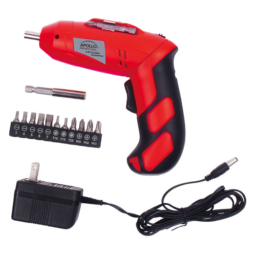 4.8 Volt Rechargeable Cordless Screwdriver red and accessories