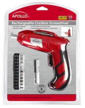 exterior packaging 4.8 Volt Rechargeable Cordless Screwdriver red