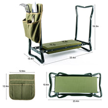 garden kneeler and pouch with rake, pruner and trowel open to kneeling position