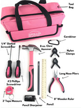 14 Piece My First Tool Kit Educational Tool Set with Pink Tool Bag, Real Pink Tools, and Safety Gear --DT4936P