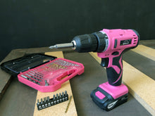 pink cordless drill with drill bits and screwdriver bits