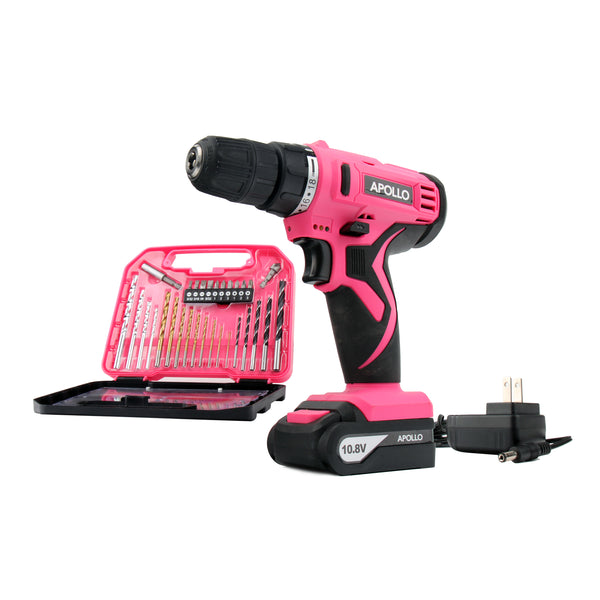 pink lady drill set cordless drill with accessory case