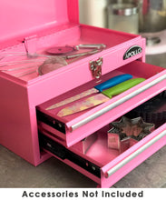 pink metal tool box tool chest with drawers for kitchen utensils, kitchen storage and decor