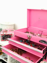 pink metal tool box tool chest with drawers for jewelry, crafts organizing