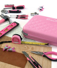 63-Piece Household Tool Kit in Attractive Designer Zippered Case with Selected Pink Tools– DT5016P