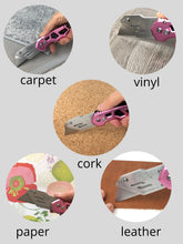 Apollo Tools pink utility knife, box cutter, easy open and easy blade change to cut carpet, vinyl, cork, paper, leather, cardboard and more
