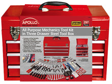 297 Piece all Purpose Mechanics Tool Kit in 3 Drawer Steel Tool Box - DT6803