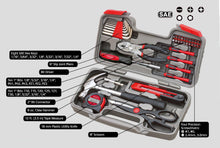 red 39 piece general tool kit over 1 Million units sold worldwide with labeled content detail