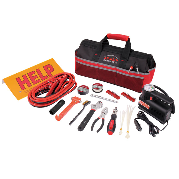 53 Piece Roadside Emergency Tool Kit with Air Compressor - DT9771