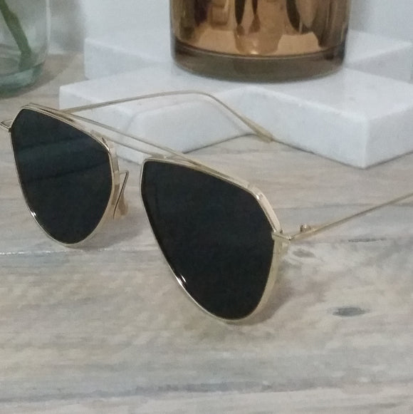 Black Structured Sunglasses