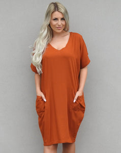 Rust Pocket Dress