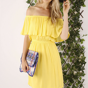 Lemon off the shoulder dress